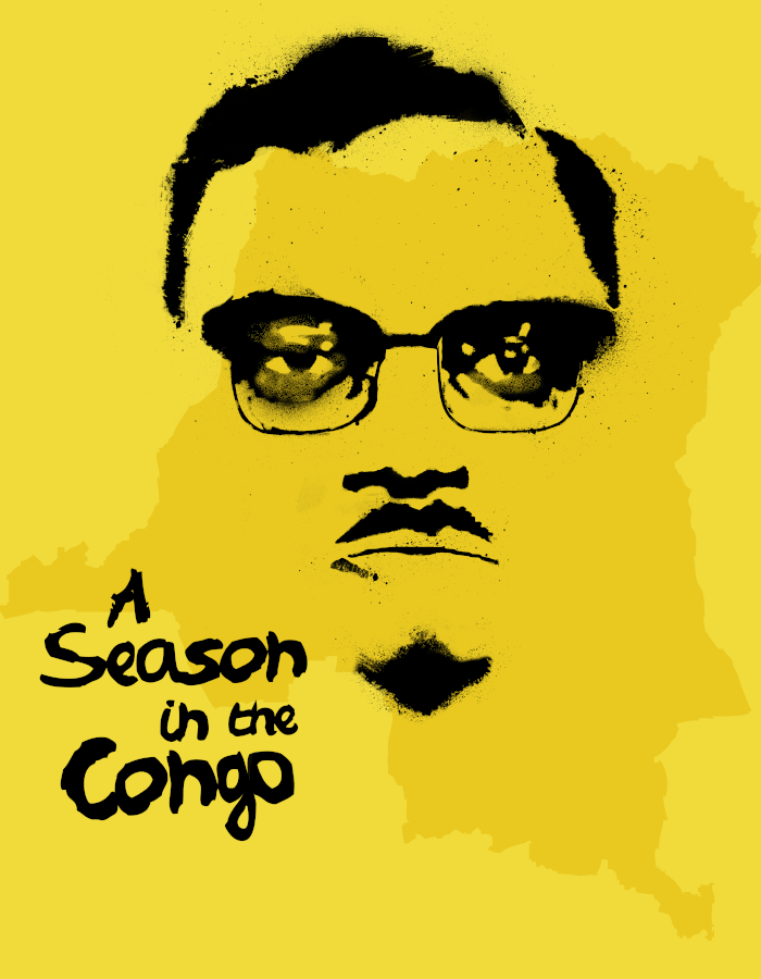 A Season in the Congo title alongside an illustrated portrait of Patrice Lumumba in an ink painting style