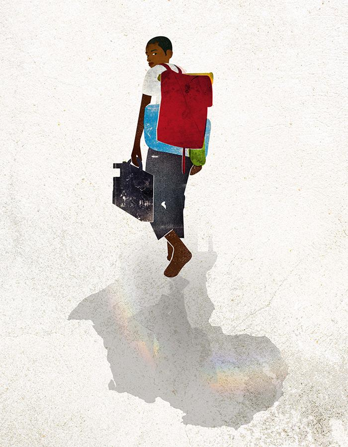 Black boy against a white background with red rucksack on his back holding another bag walking way