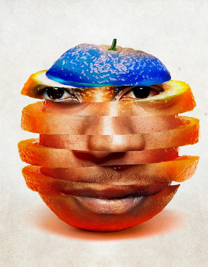 A black man's face embedded into an orange which has been cut and stacked in long slices with blue discoloration on top of the orange