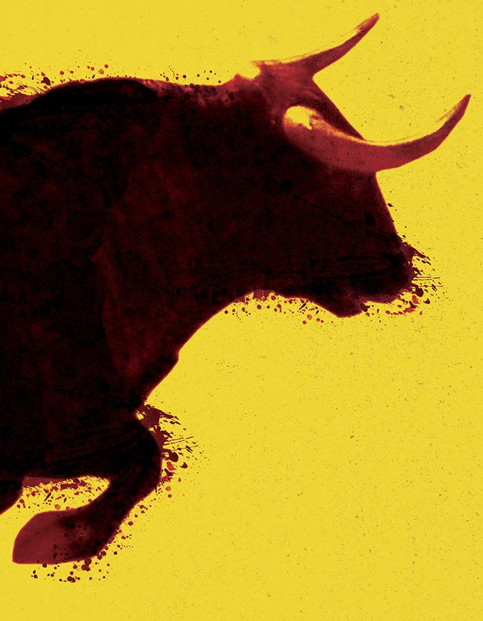 Yellow background with the painted silhouette of the torso of a bull with large horns leaping from left to right across the canvas