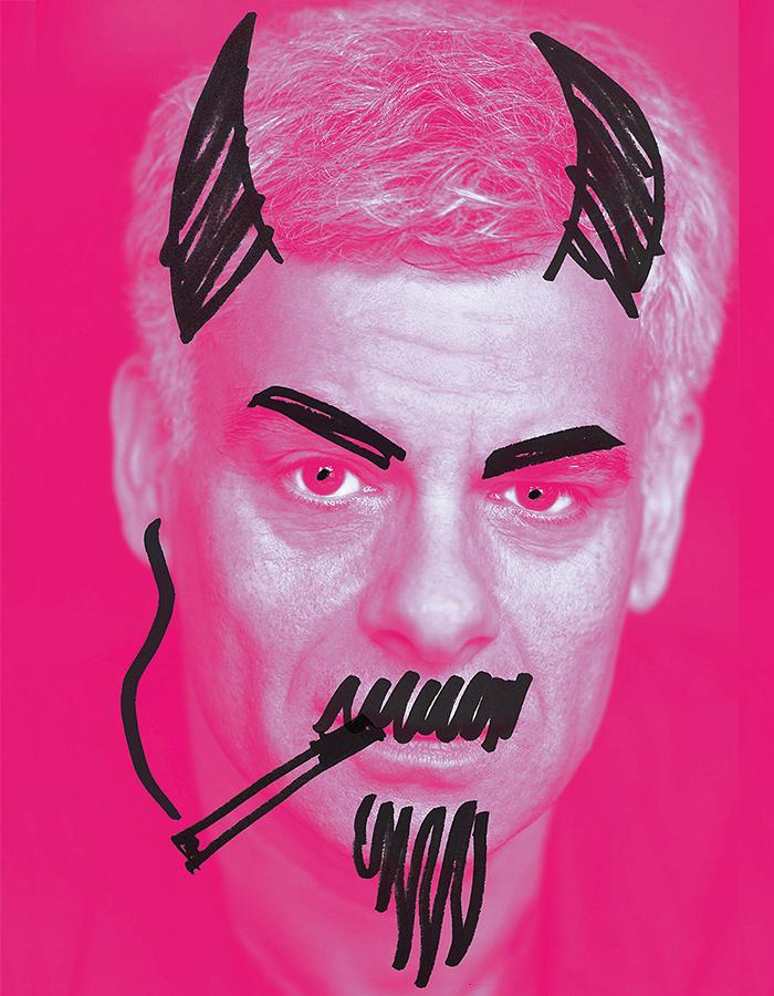 Mark Lockyer's face on a pink background with a pen drawn cigarette, goattee and devil horns.