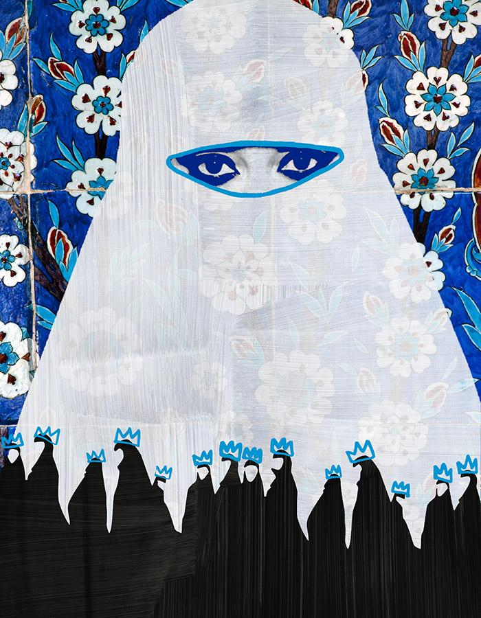 animated/cartoon almost transparent image of a women in a hijab against a blue and white floral background