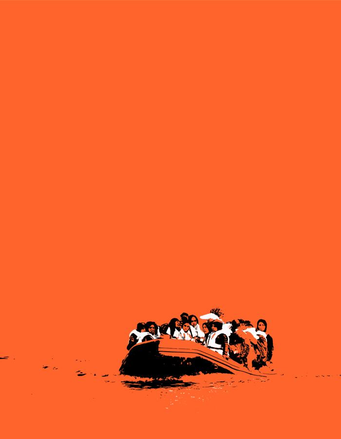 An illustration of a group of female refugees on a small dinghy at sea whose white life jackets are highlighted against the black and orange sketch