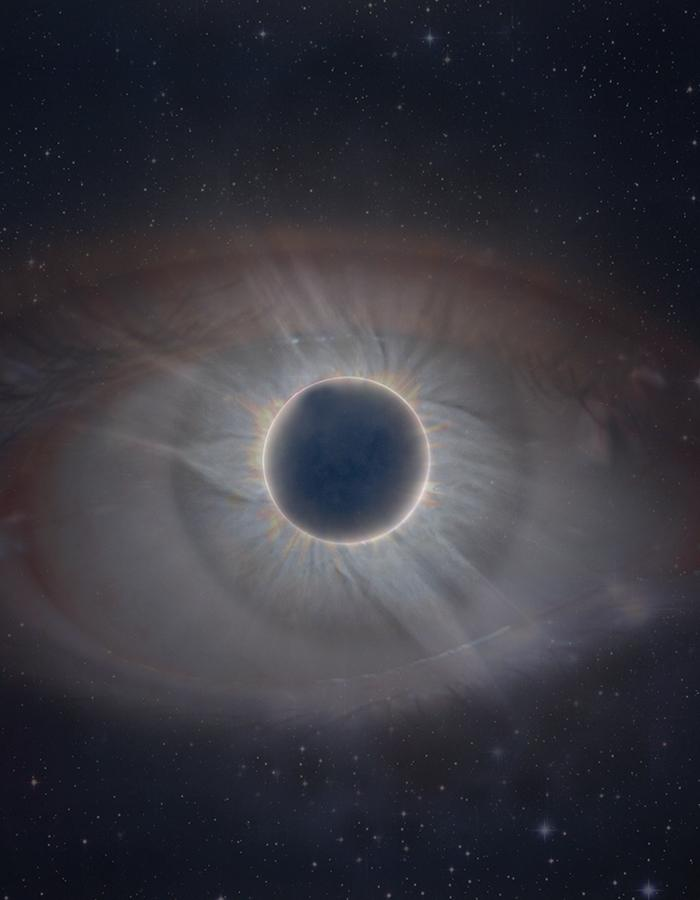 A total eclipse of the sun within an eye to replace the pupil
