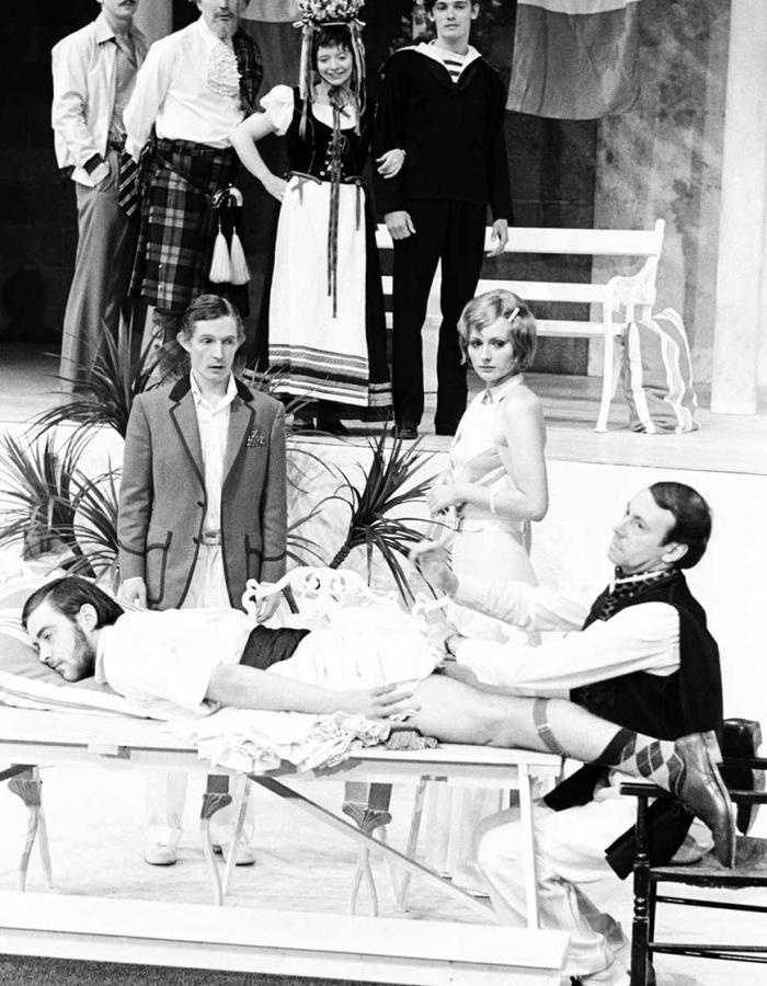 Ian Charleson (rear left) in FRENCH WITHOUT TEARS by Terence Rattigan, directed by Frank Dunlop in 1973