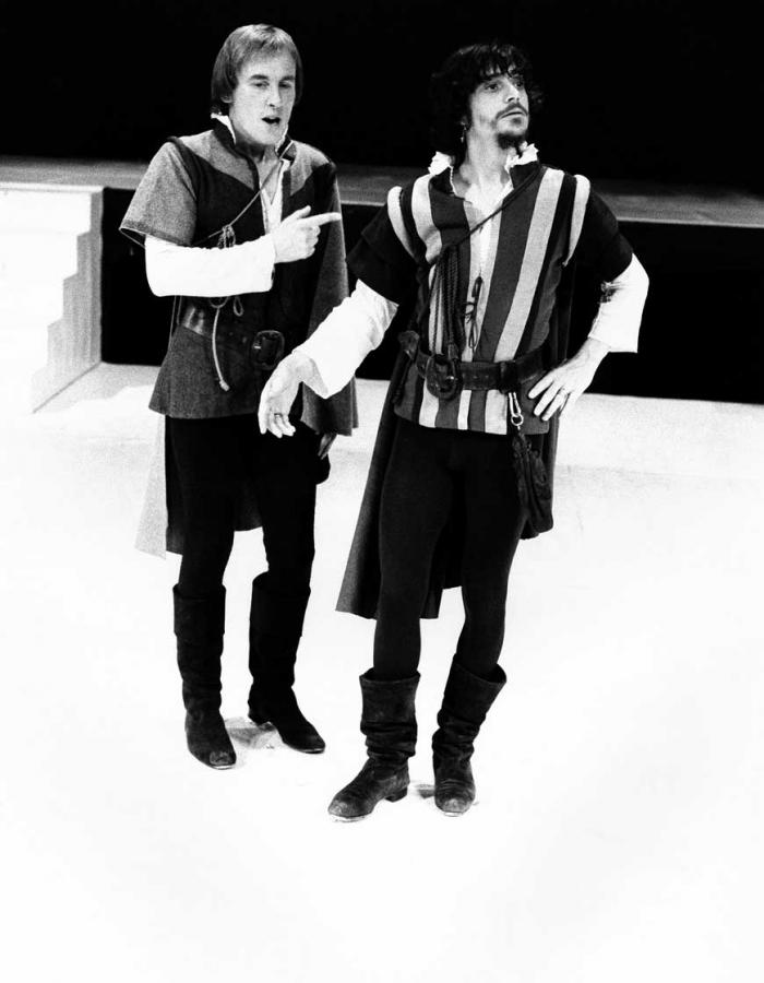 Christopher Timothy and Richard O'Callaghan in the 1974 revival of Tom Stoppard's Rosencrantz & Guildenstern Are Dead