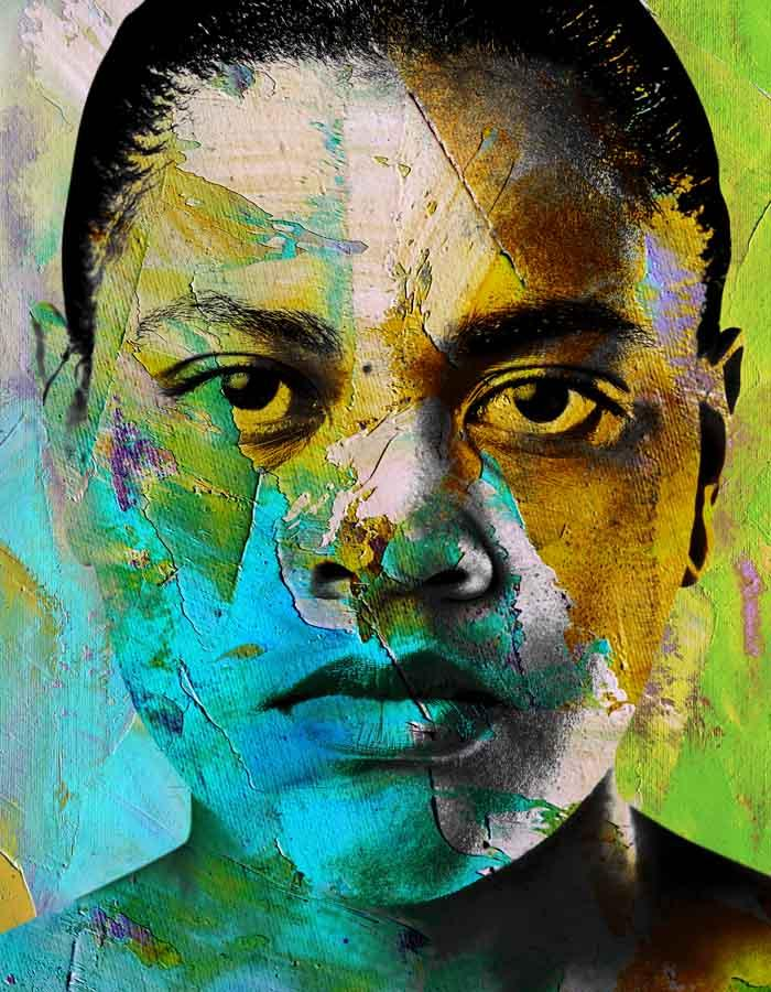The face of a woman fills the screen, she stares with an intense gaze , her short dark hair scraped back, her jaw set, she could be angry or sad or maybe both. A beautiful mix of greens, blues, yellows wash the entire image.