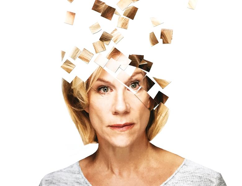 Portrait of Juliet Stevenson in front of a white background with the top of her fragmented into square puzzle pieces