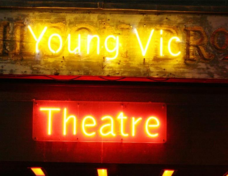"""Young Vic Theatre"" in neon lights"