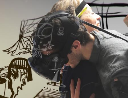 Man with a VR headset hugs with a blonde lady wearing a strap around her head.
