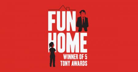 Fun Home banner with illustrated girl to the left looking across the title to a father figure on the right.