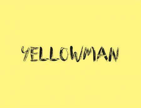 Yellowman written in scratchy black font on a yellow background