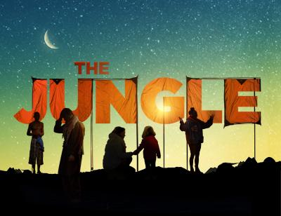 Silhouette of people in the camp with the title of the show 'The Jungle' created using pieces of an orange tent. There is a blue and green starry sky behind the characters.
