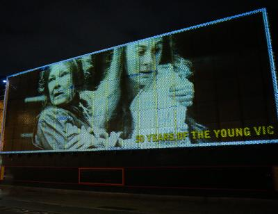 50th Birthday Projection outside the Young Vic building