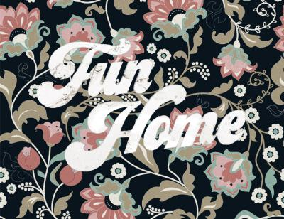 A faded 70s style print featuring flowers with an aged, off-white Fun Home title placed on top.
