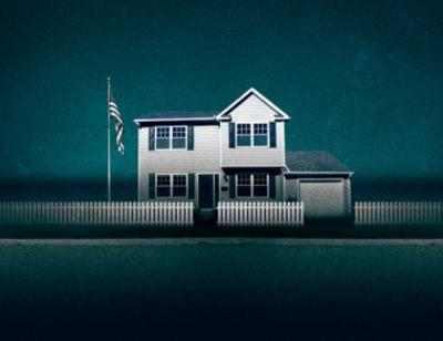 Fairview artwork. White surburban house on a teal layered background