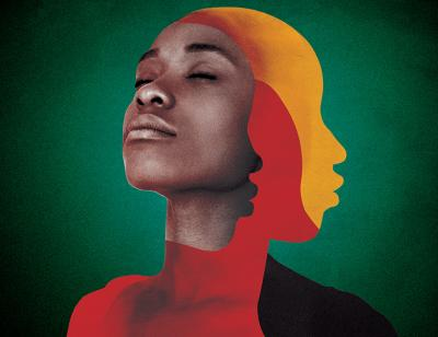 women on green background with red and orange shadows representing the Jamaican flag