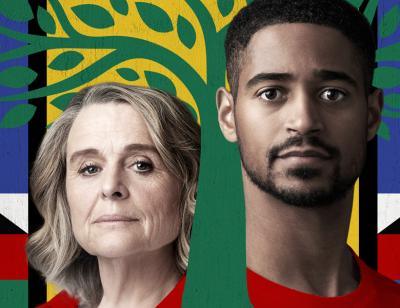 Sinéad Cusack and Alfred Enoch surrounded by an illustrated tree in the colours of the flag of South Africa