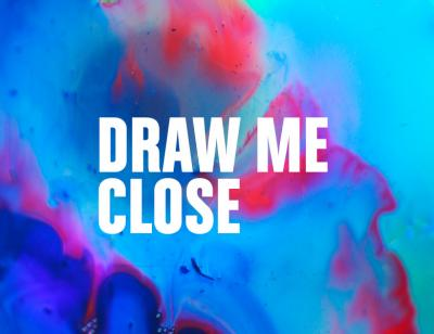 Draw Me Close title treatment on a colourful background that looks like a mutlicolour oil spill