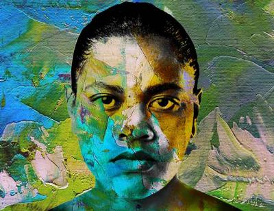 The face of a woman fills the screen, she stares with an intense gaze , her short dark hair scraped back, her jaw set, she could be angry or sad or maybe both. A beautiful mix of greens, blues, yellows wash the entire image: they look painted roughly on with a big brush.